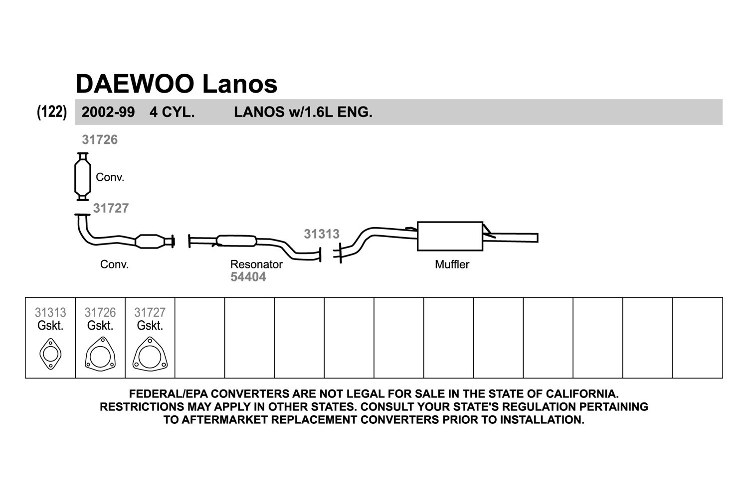 Walker Daewoo Lanos 16l 2001 Replacement Exhaust Kit This Picture Is A Preview Of Electrical Wiring Diagram Authorized Dealer