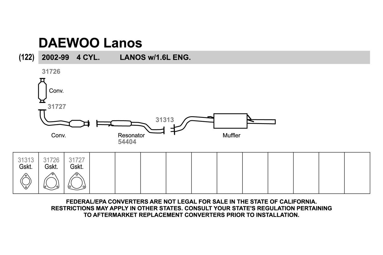 Walker Daewoo Lanos 16l 1999 Exhaust Pipe Flange Gasket Engine Diagram