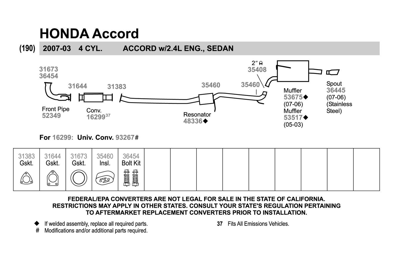 Walker Honda Accord 2005 Replacement Exhaust Kit