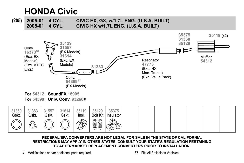 2002 Honda Civic Ex Exhaust Diagram
