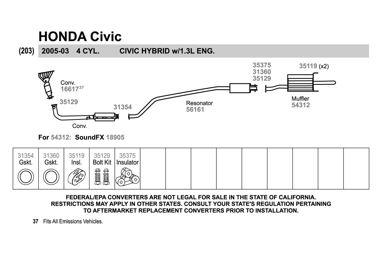 Walker Honda Civic 2005 Replacement Exhaust Kit Wiring Diagram Hybrid