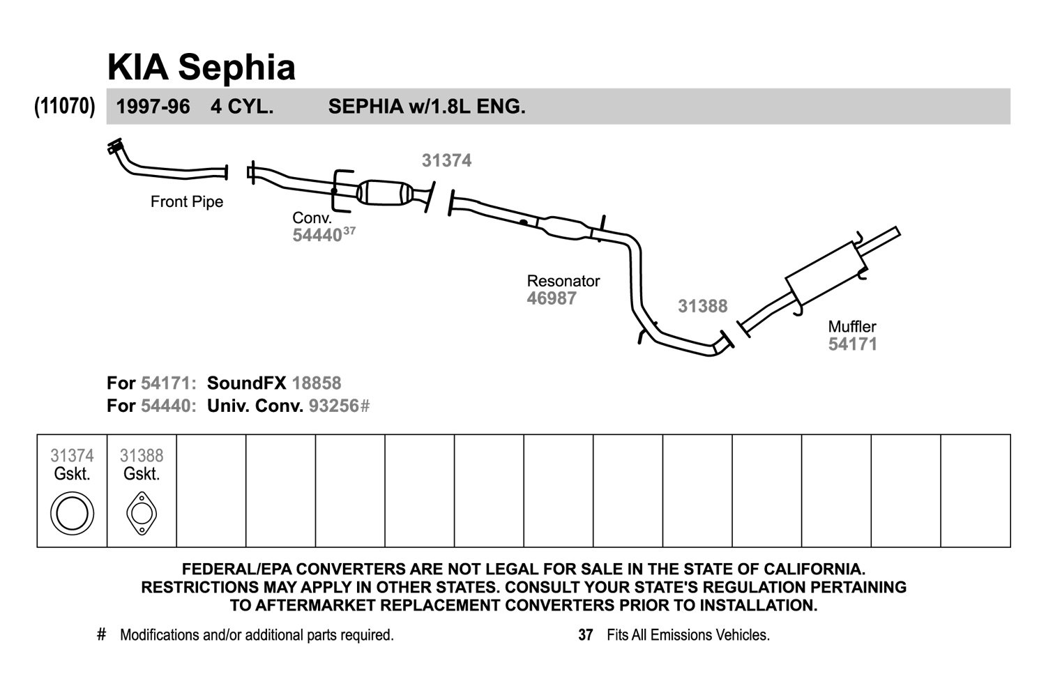 1995 Kia Sephia Fuse Diagram Shuma 2 Box Walker Replacement Exhaust Kit Carid Com 1500x1000