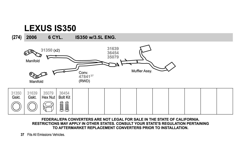 Exhaust Resonator Pipe-Resonator Assembly Walker 53696 fits 02-05 Lexus IS300
