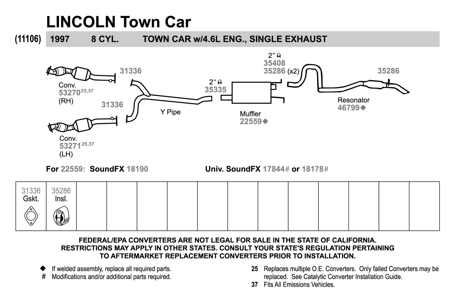 walker lincoln town car 1997 replacement exhaust kit. Black Bedroom Furniture Sets. Home Design Ideas