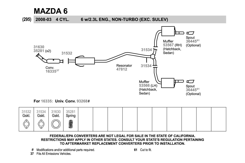 34 2004 Mazda 6 Exhaust System Diagram