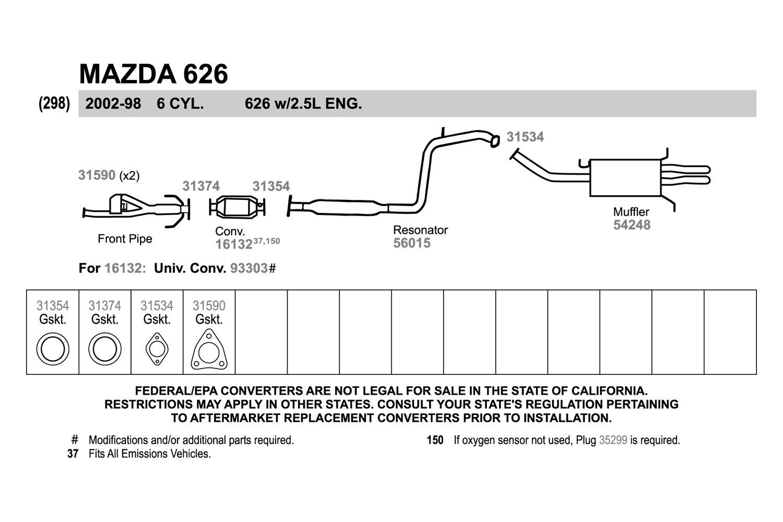 Mazda 626 Exhaust System Diagram Modern Design Of Wiring 1999 Engine Walker Pipe Flange Gasket Rh Carid Com Hose