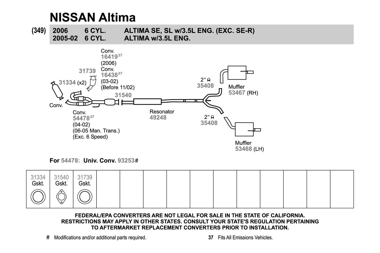 Walker Resonator New for Nissan Altima 2002-2006 49246