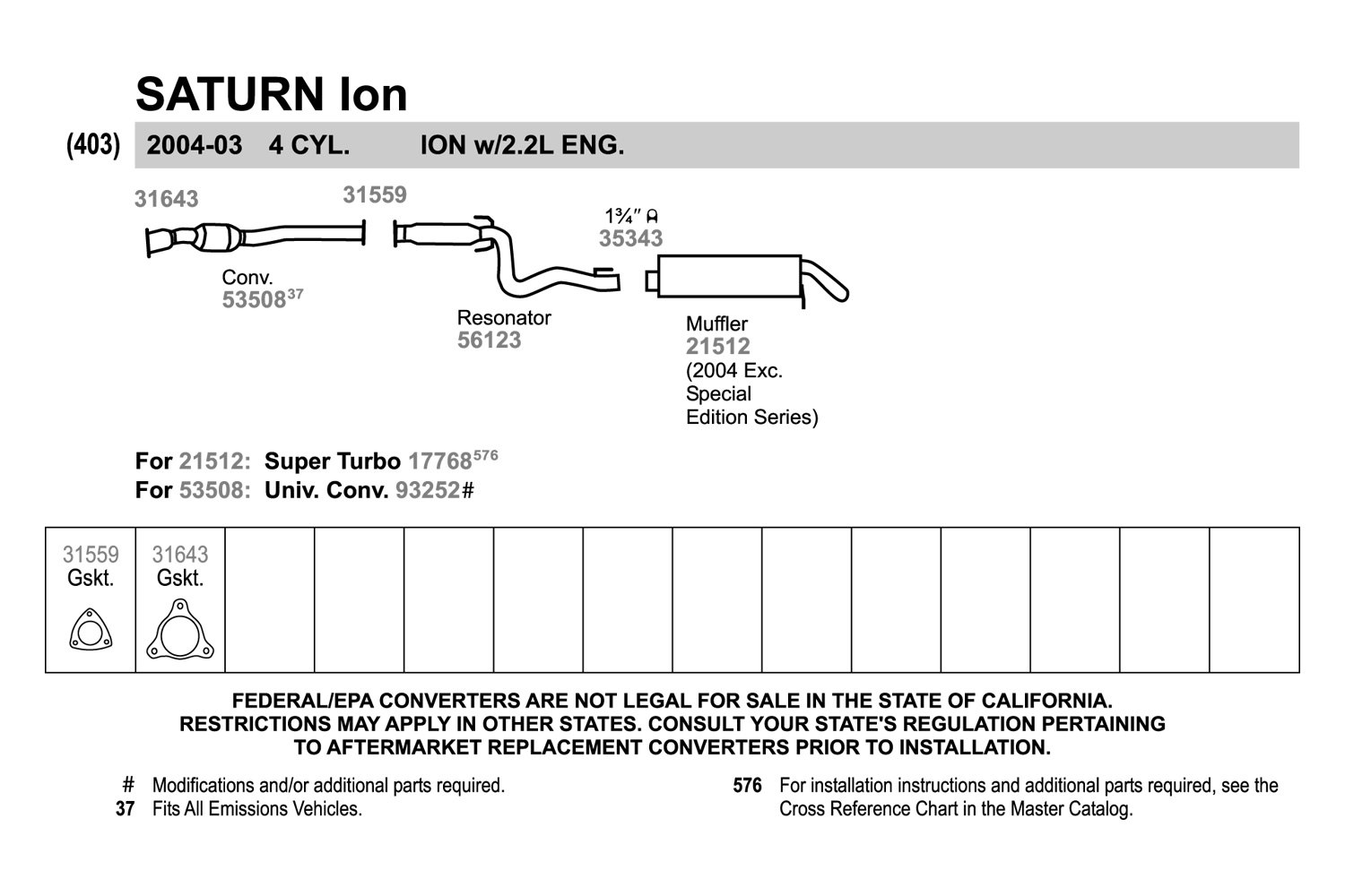 walker saturn ion 2004 replacement exhaust kit carid com rh carid com saturn l200 exhaust system diagram saturn l300 exhaust system diagram