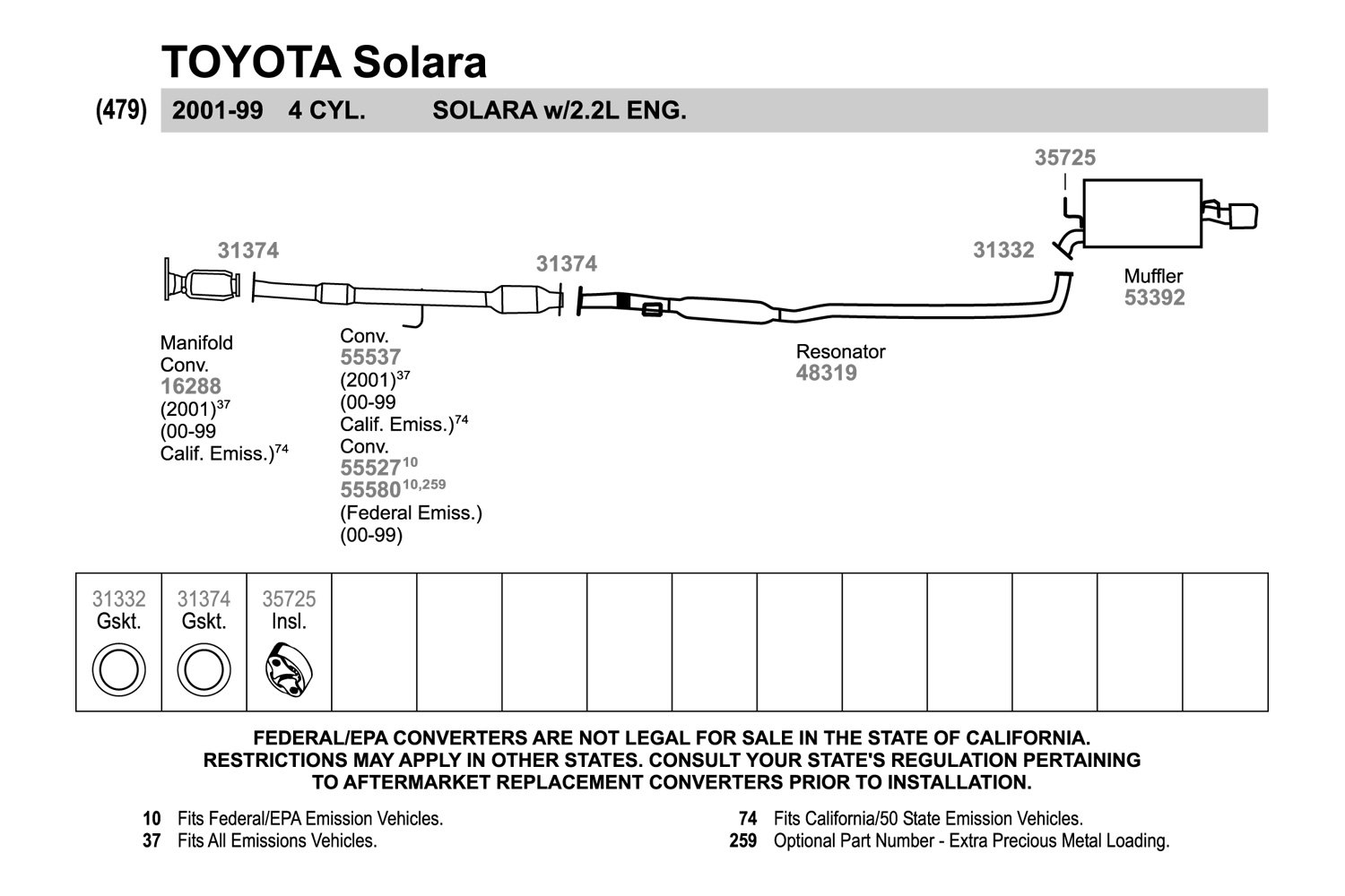 Walker 31374 Fiber And Metal Laminate Donut Exhaust Pipe Flange 2004 Toyota Solara Diagram Replacement Kit