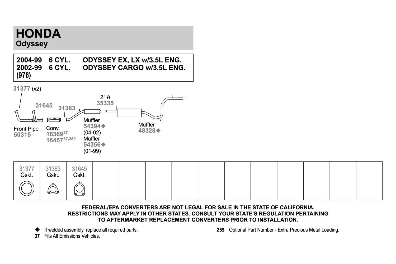 Walker Honda Odyssey 35l 2003 Replacement Exhaust Kit Suspension Diagram