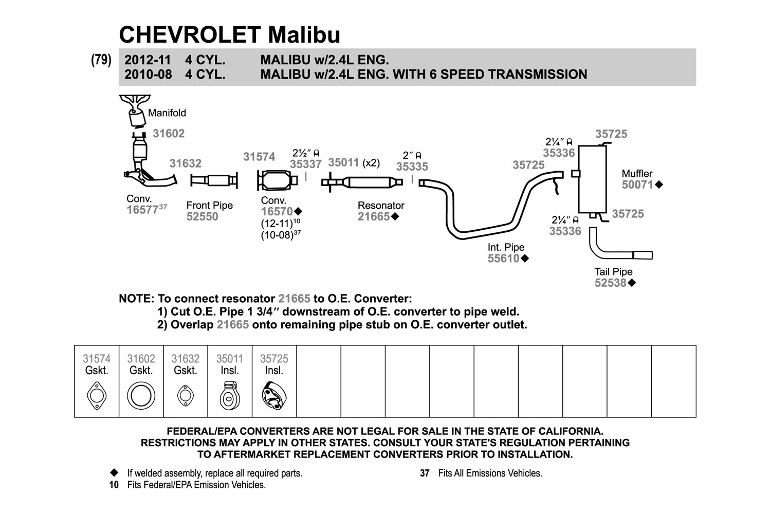 2004 Chevy Malibu Exhaust System Diagram