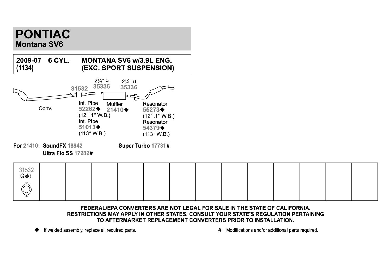 2008 Chevy Uplander Engine 2007 Diagram For Exhaust Muffler Soundfx Aluminized Steel Ebay Com Parts Problems