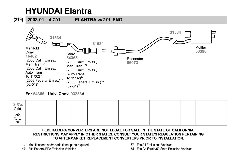 Replacement Exhaust Kit Scheme: Hyundai Elantra Exhaust Parts At Woreks.co