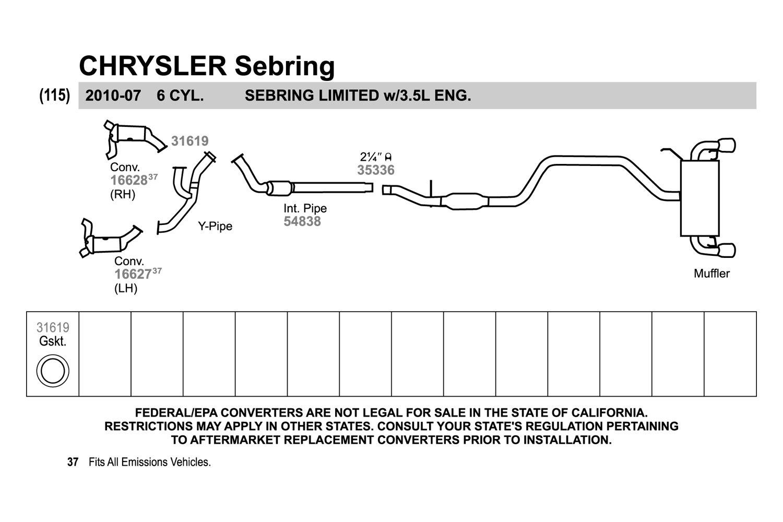 walker chrysler sebring 2007 replacement exhaust kit rh carid com 2004  Chrysler Sebring Convertible 2006 Chrysler
