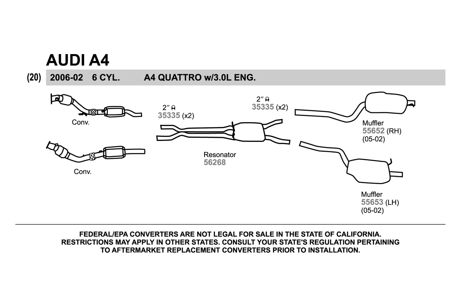 Audi a4 exhaust diagram wiring diagram walker audi a4 2002 replacement exhaust kit rh carid com audi a4 exhaust system audi a4 swarovskicordoba Choice Image