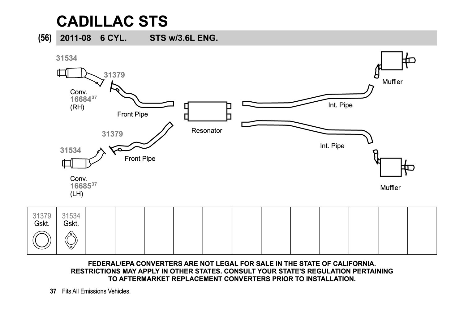 Walker Cadillac Sts 36l 2008 Exhaust Pipe Flange Gasket 2011 Cts Wiring Diagram