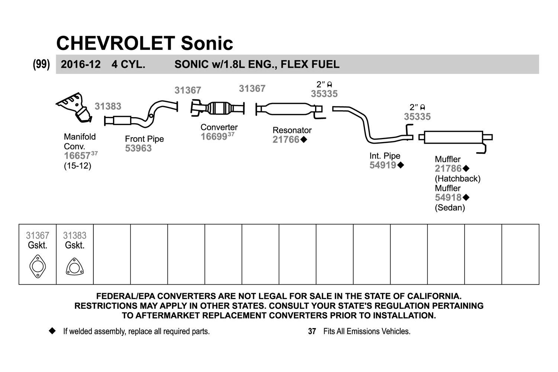 walker chevy sonic 2012 replacement exhaust kit rh carid com Saab Exhaust Diagram 2003 Impala Exhaust Diagram