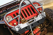 WARN® - Electric Off-Road Winch and Front Bumper on Jeep Wrangler