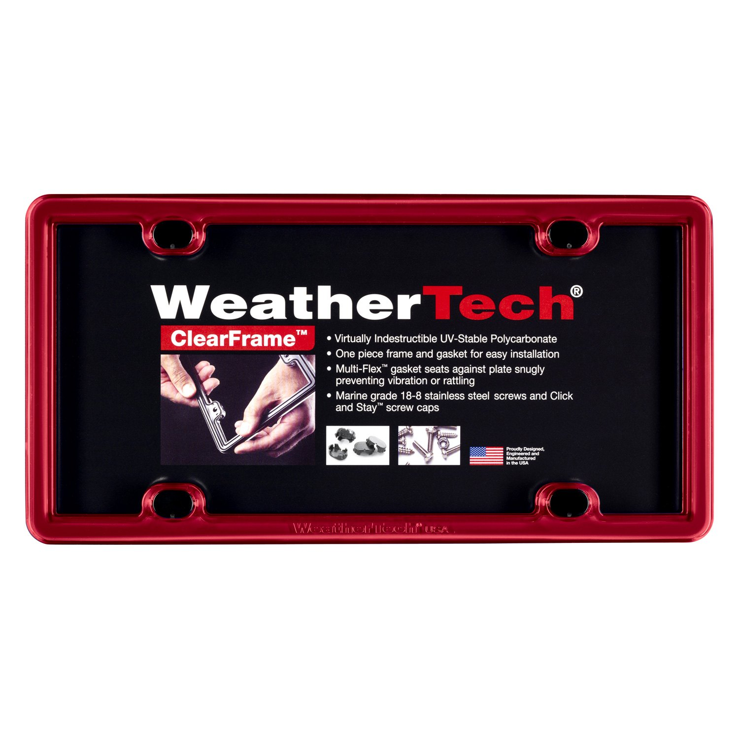 WeatherTech® 8ALPCF1 - ClearFrame™ Red License Plate Frame