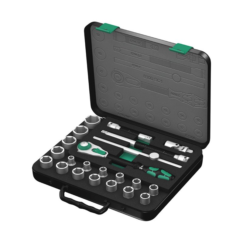 wera 5003644002 zyklop 22 piece metric ratchet set 1 2 drive with case. Black Bedroom Furniture Sets. Home Design Ideas