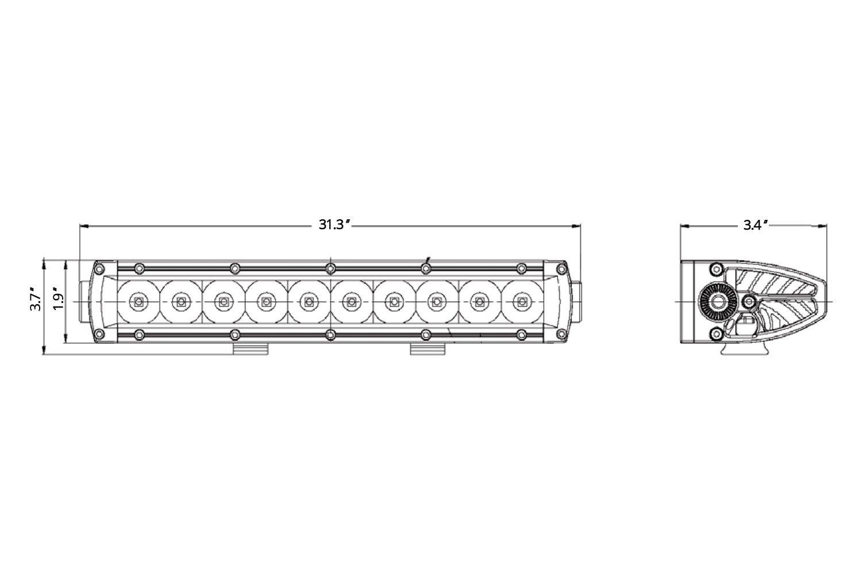 """... SchemeWestin® - B-Force™ 30"""" 150W Combo Beam LED Light Bar, Light Beam"""