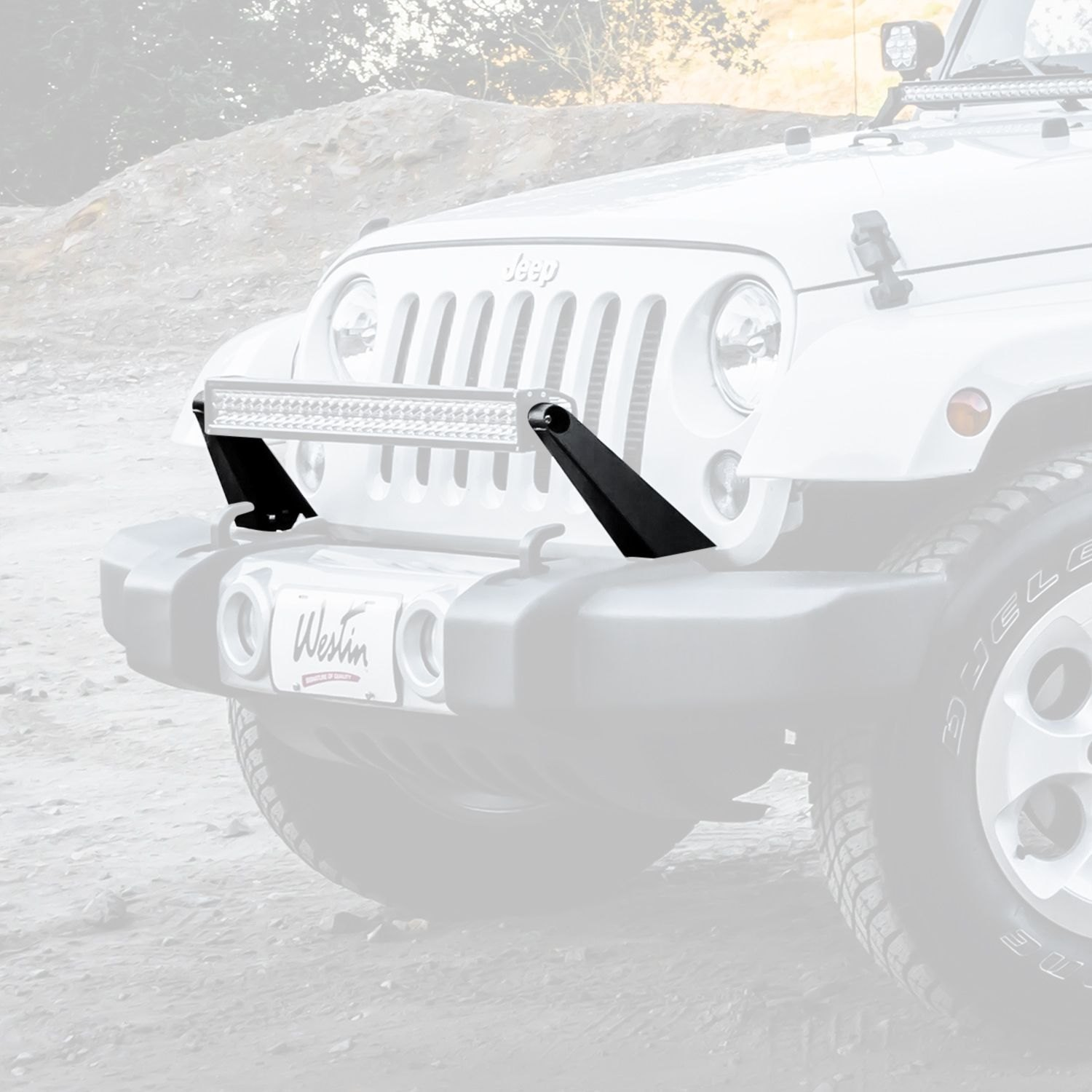 Westin Jeep Wrangler 2007 Hd Series Bumper Mount For 30 Led Light Mounts Textured Black Bar