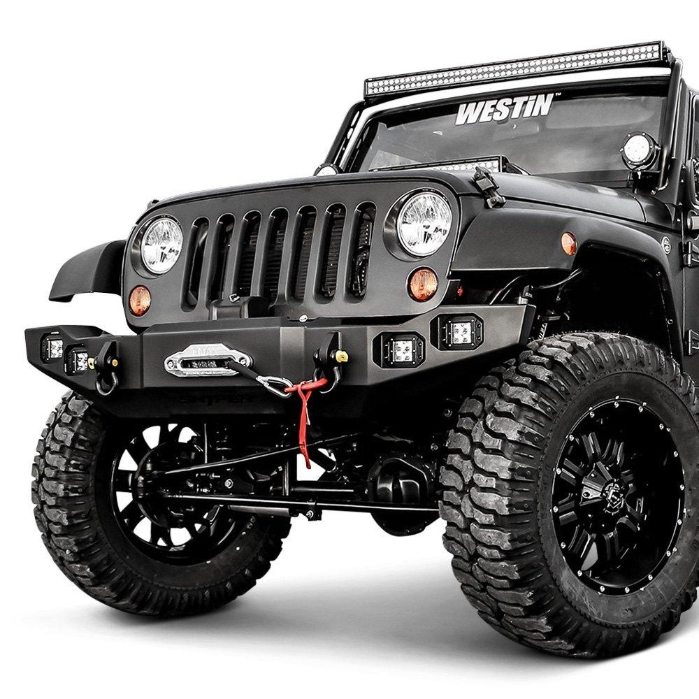 westin jeep wrangler 2017 snyper full width black front winch hd bumper. Black Bedroom Furniture Sets. Home Design Ideas