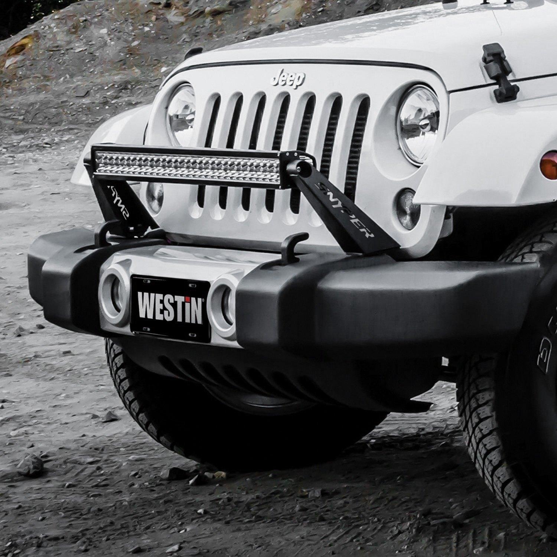 Westin jeep wrangler 2007 2017 snyper bumper mounts for 30 led snyper textured black bumper mounts for 30 led light bar aloadofball Images