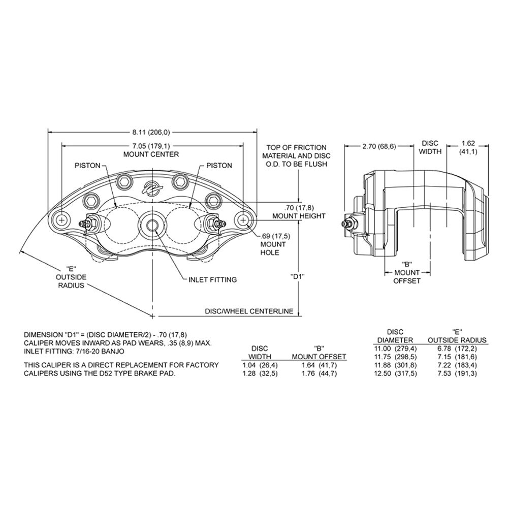 Wilwood 120 10937 Bk Gm D52 Brake Caliper Brakes Diagram