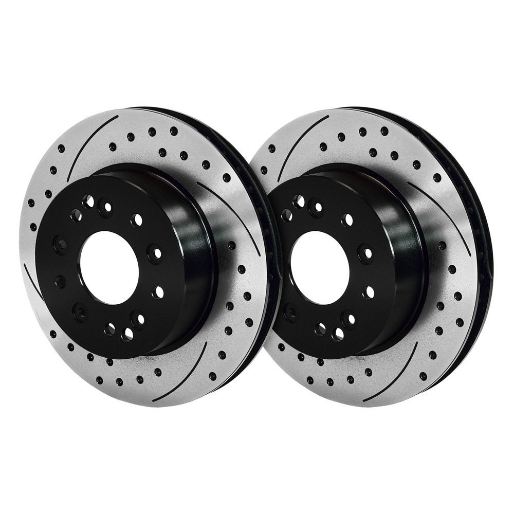 wilwood 140 11739 d drilled and slotted vented 1 piece rear brake rotors and hub assembly. Black Bedroom Furniture Sets. Home Design Ideas