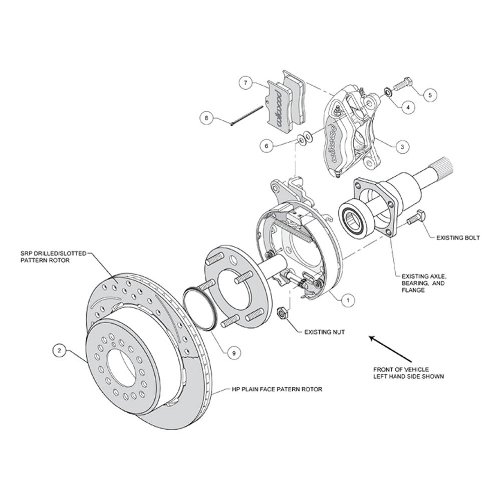 Wilwood® 140-9315-DR - Street Performance Drilled and Slotted Rotor Forged  Dynalite Caliper Rear Brake Kit with Parking Brake Assembly