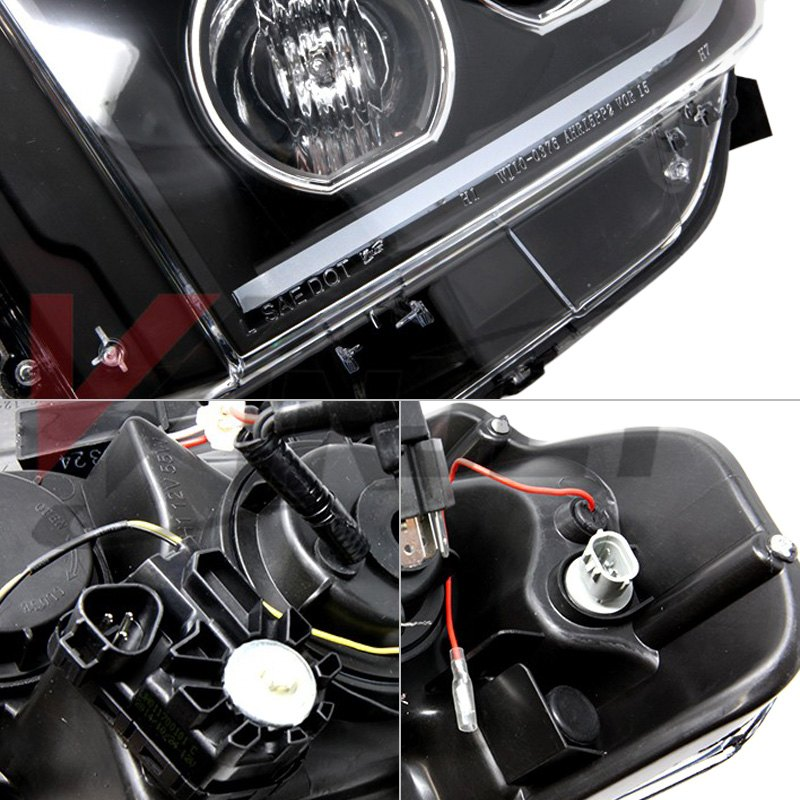 Winjet® RNGH0376-B-SQ - Black Sequential LED DRL Bar Projector Headlights