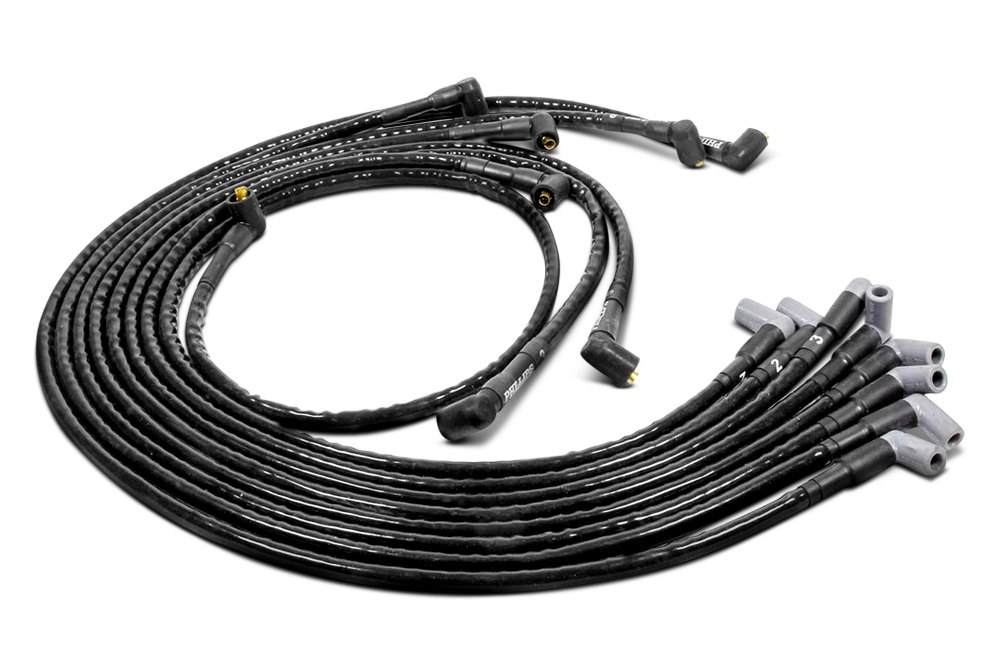 Woody Wires™ | Black Spiral Core Spark Plug Wires — CARiD.com