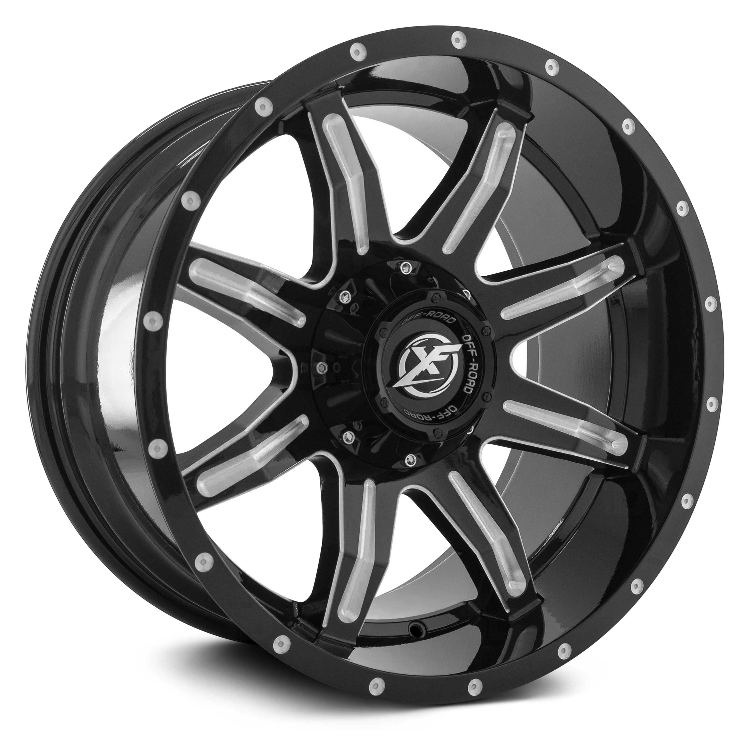 Xf Off Road Xf 215 Wheels Gloss Black With Milled Accent And Dots Rims