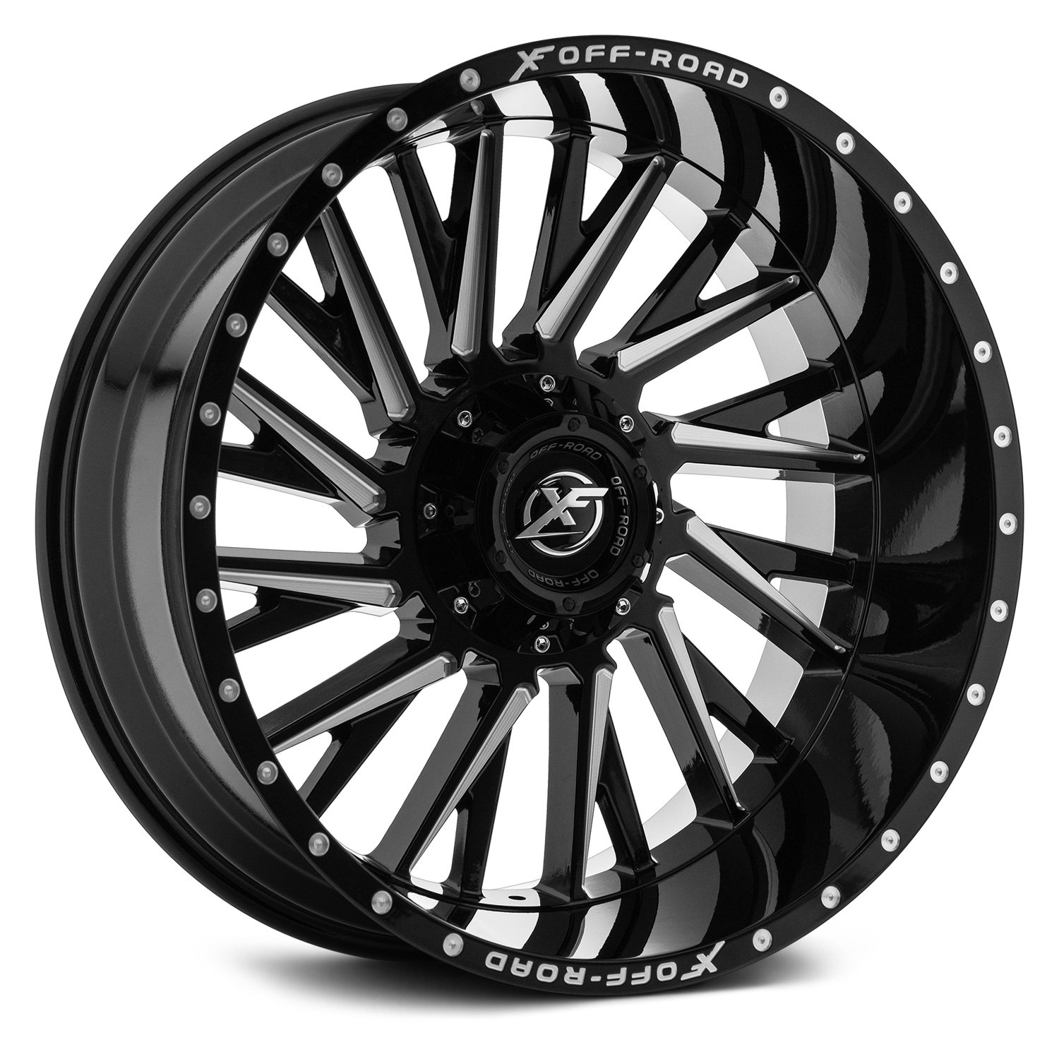 Xf Off Road Xf 226 Wheels Gloss Black With Milled Accents And Dots Rims