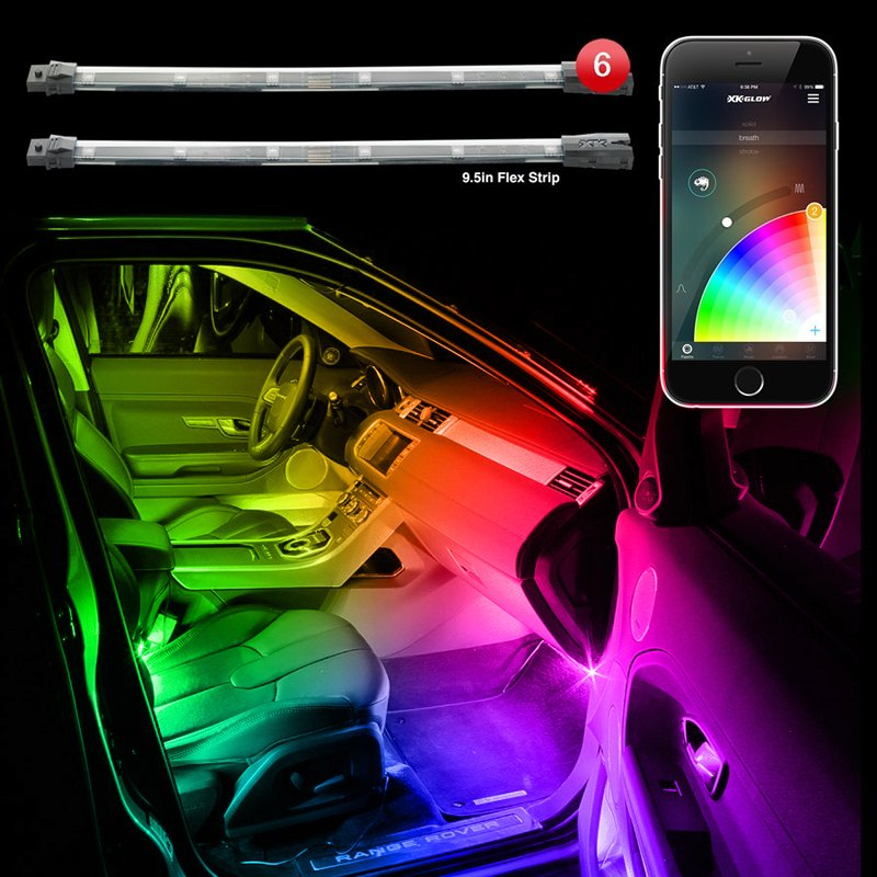 xkglow ks car mini 9 xkchrome bluetooth app control interior multicolor led accent kit. Black Bedroom Furniture Sets. Home Design Ideas