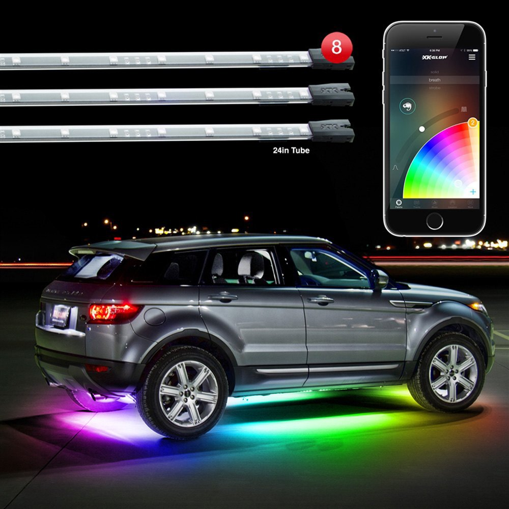 Xkglow xkchrome app control multicolor led underbody and interior kit for Illegal to have interior car lights on