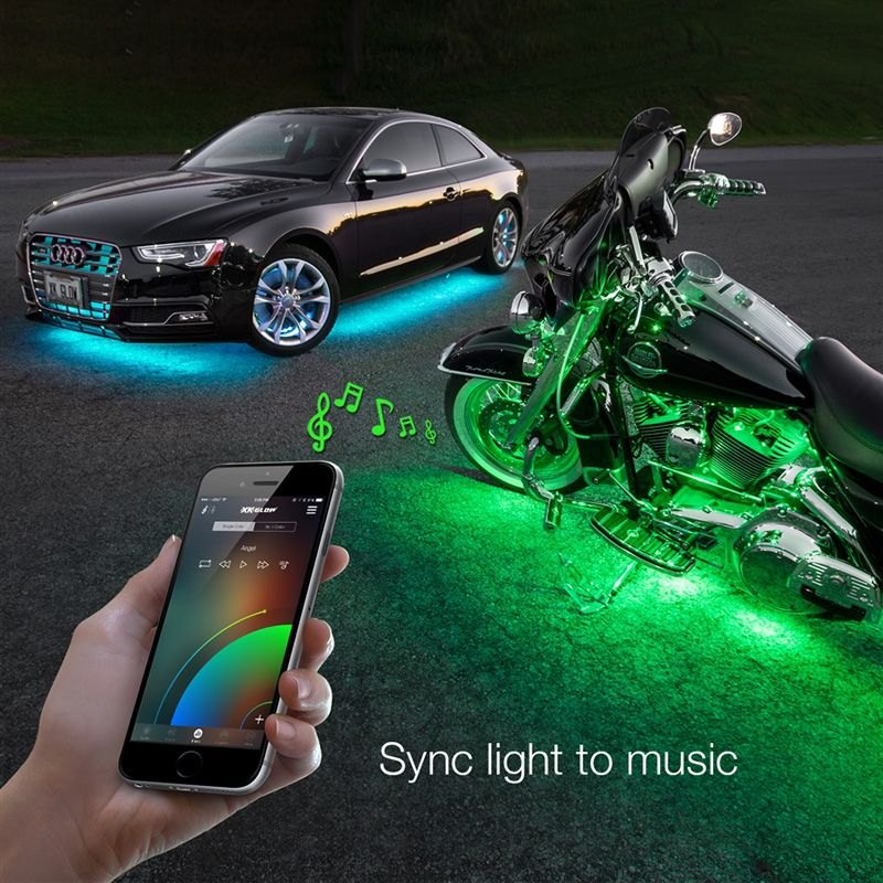 xkglow ks car mini xkchrome bluetooth app control multi color interior accent led light kit. Black Bedroom Furniture Sets. Home Design Ideas
