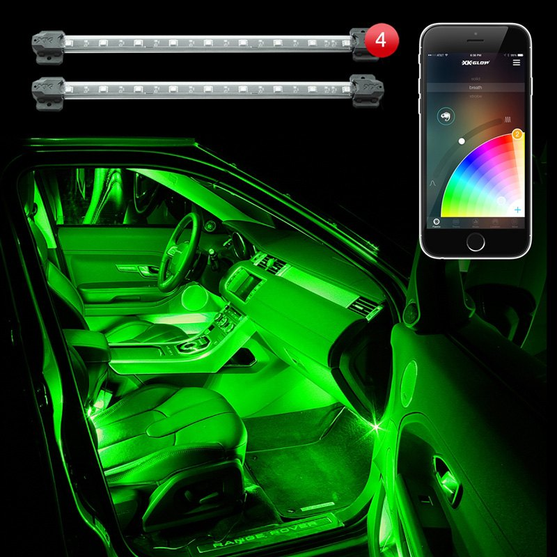 xkglow xkchrome bluetooth app control multi color interior accent led light kit ebay. Black Bedroom Furniture Sets. Home Design Ideas