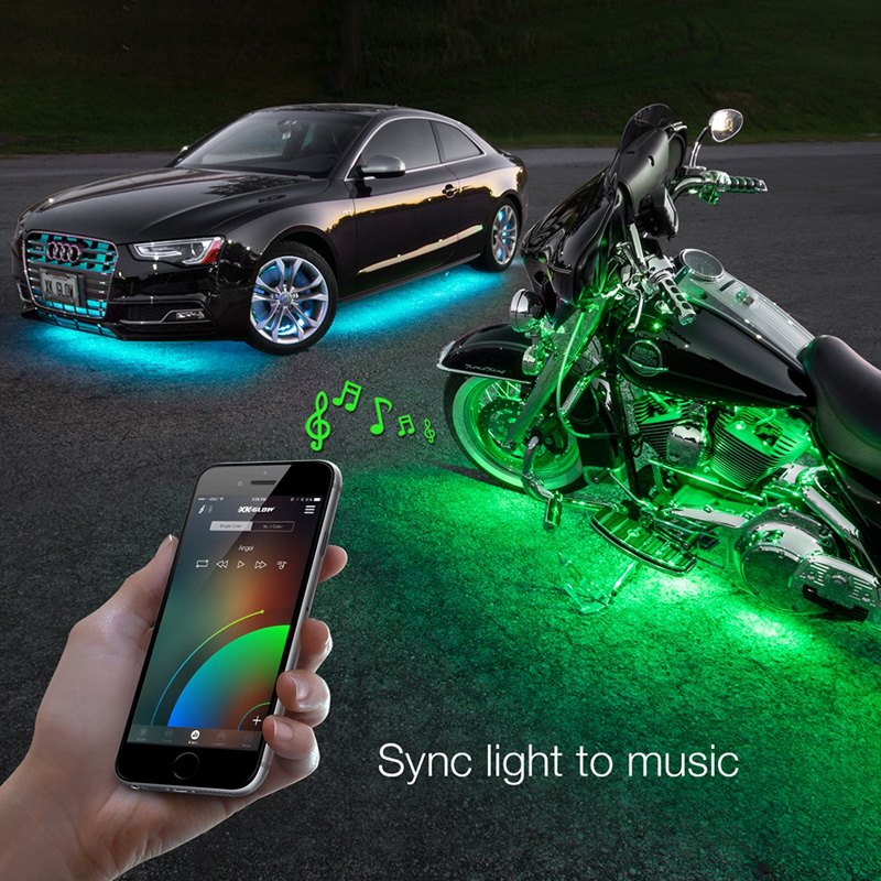 Xkglow Xkchrome Bluetooth App Control Multi Color Motorcycle Underglow Led Light Kit