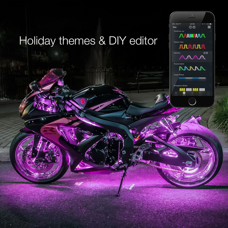bluetooth app control multi color motorcycle underglow led light kit. Black Bedroom Furniture Sets. Home Design Ideas