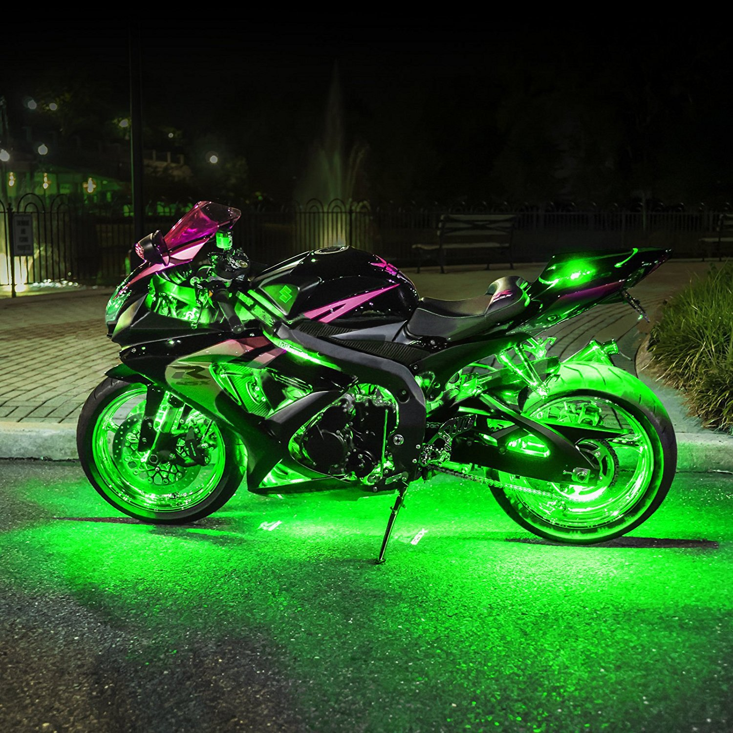 Xkglow xk034001 g green single color motorcycle underglow led pod kit - Underglow neon ...
