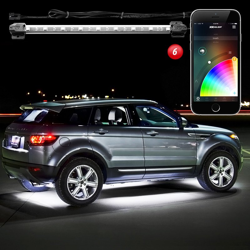 Xkglow xkchrome bluetooth app control multi color underbody led light kit for Car interior led lighting multicolor