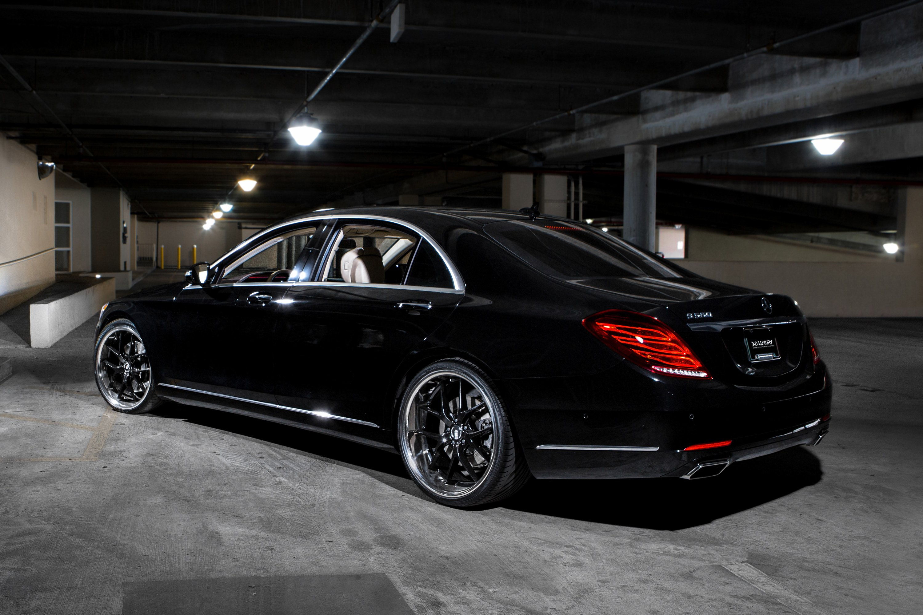 Xo athens wheels gloss black with ss lip rims for Black mercedes benz rims