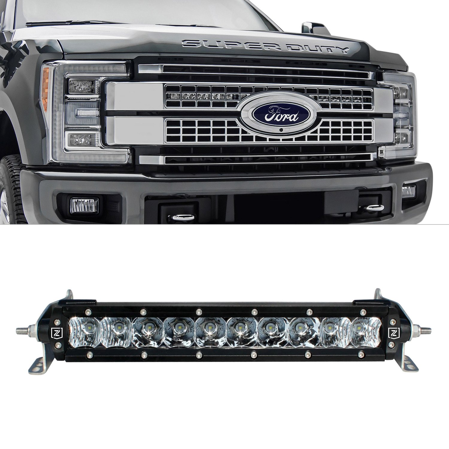 Zroadz ford f 350 2017 grille mounted oe slim combo beam led zroadz grille oe 10 2x75w slim combo beam led light bars aloadofball Image collections